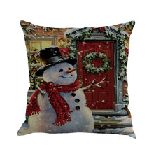 Merry Christmas Snowman Pillowcases Linen Printed Decorative Pillows For Sofa Car Seat Cushion Cover Pillow Case Home decor(China)