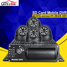 FreeShipping H.264 4CH SD Mobile Dvr Car Dvr Kits 4Pcs Camera With 24Pcs LED IR Night Vision Truck /Bus Security Vehicle DVR KIT