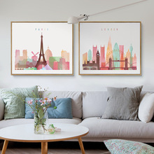 Watercolor Paris London New York City A4 Big Art Print Poster Wall Picture Canvas Painting No Frame Home Decor