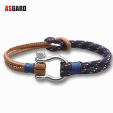 ASGARD New Arrival Fashion Jewelry navy style Sport Camping Parachute Survival Bracelet Men with Stainless Steel Shackle Buckle