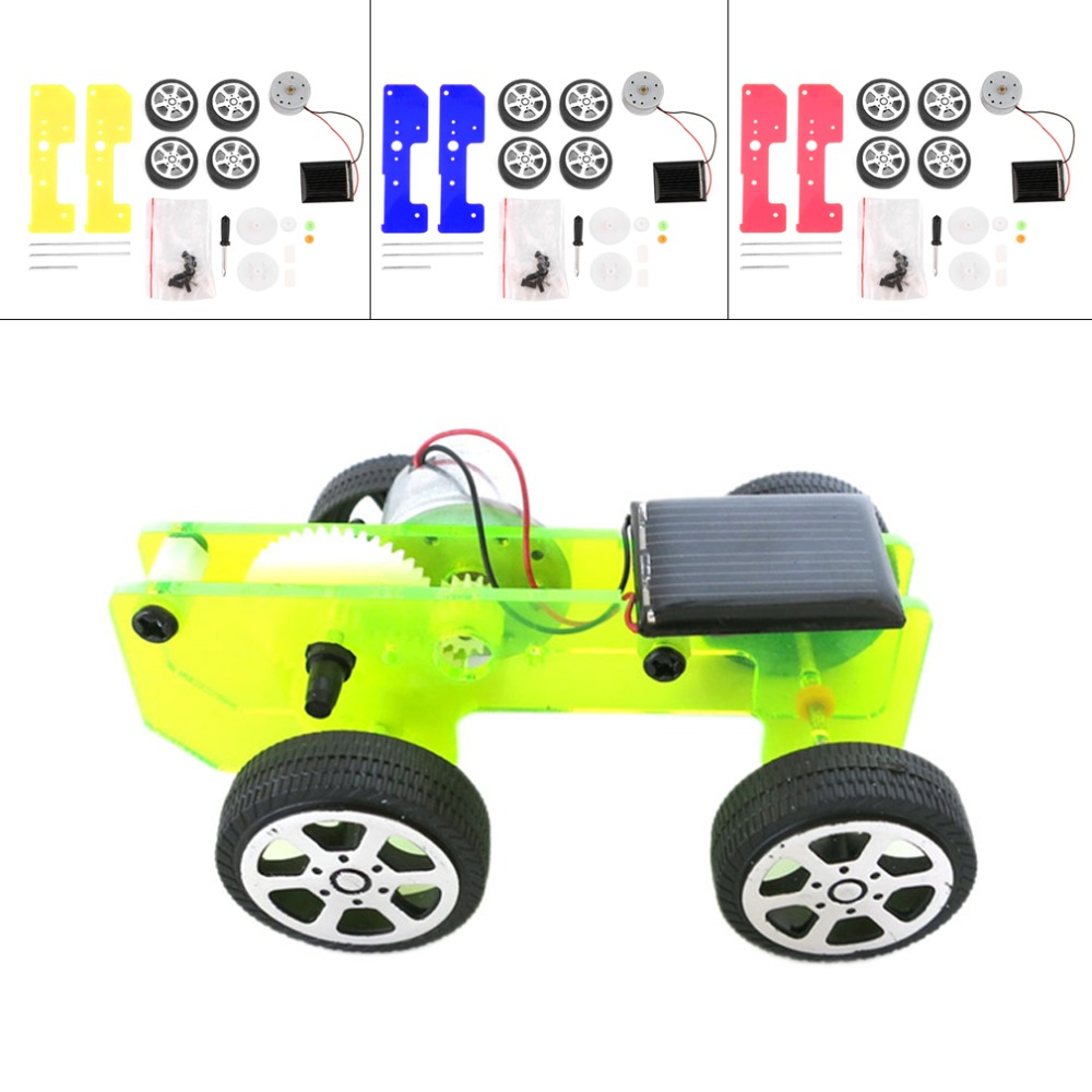 OCDAY 1pc Self assembly Mini Funny Solar Powered Toy DIY Car Kit Children Educational Gadget Hobby New Sale(China (Mainland))