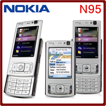 N95 Original Unlocked Nokia N95 GPS WIFI 5MP 950mAh 3G Support Ruussian Keyboard Mobile Phone Free Shipping