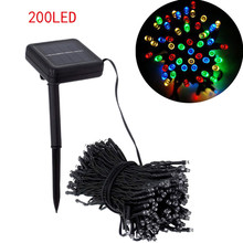 20.4 M 200 LED Solar Lamps String Christmas Wreaths Wedding Decoration Light(China)