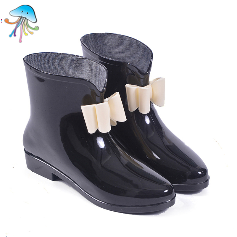 Glitter Cute Round Toe Soft Walking Rainboots for Women Ankle Rain Boots Shoes Stylish Short Tube Adult Waterproof Shoes Bowtie<br><br>Aliexpress