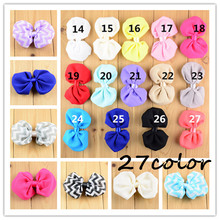 "200pcs/lot Wholesale 27Color U Pick 4"" Chevron Printed And Solid Chiffon Fabric Hair Bows Girls Garment Accessories HDJ30"