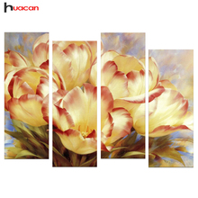 New DIY Flowers Diamond Painting Cross Stitch Handmade 3D Diamond Mosaic Kits Tulip Patterns Rhinestone Mother's Day Gifts 4pcs(China)