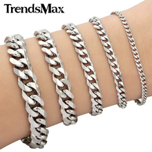 Trendsmax Mens Bracelet Stainless Steel Chain Curb Cuban Silver Color Wholesale Jewelry KBM03(Hong Kong)