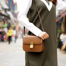 genuine leather women's  messenger bag cowhide one shoulder crossbody handbag tofu box bag mirror plate LA-0100