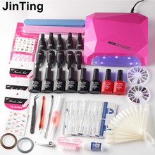 nail set 24w or 36w uv lamp Dryer with nail gel polish soak off manicure products lasting nail polish kit for nail art tool(China)