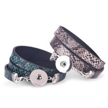 New Fashion Women or Men Snake Skin Three-Layers Wrap PU Leather Bracelets Bangles for 18mm Snap Buttons Jewelry Making