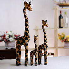 3PC/Set Vintage Nordic Log Craft Gift Giraffe Hand-Painted Animal Wooden Ornaments Home Decoration Wood Art Printing Craft