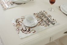 26x38CM European Bronzing Velour Table Mat /luxury Wedding Decor Napkin Placemats Dishware coasters For Accessories Cup Wine mat(China)
