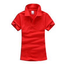 Custom Embroidery Logo Cotton Women's Lapel Polo Shirt Colorful Lapel short sleeves