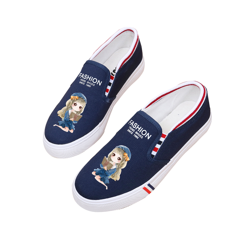 100% Hand Paingting Girl Cartoon Canvas Shoes Flat Bottom Schoolgirl Graffiti Canvas Shoes Small White Shoes Lazy Flats Sweet (China)