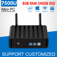 Intel 7th Gen Core i7 7500U Mini PC Kaby Lake Fanless Office Computer Desktop Gaming Windows 10 4K HTPC Mini Nuc HD Graphics 620(China)