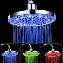 "8"" inch Round Rain Stainless Steel Bathroom RGB LED Light Shower Head"
