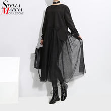 Buy 2017 Korean Style Women Black Mesh Patchwork Dress Long Sleeve O Neck Knee Length Female Casual Streetwear Straight Dresses 3159 for $18.00 in AliExpress store