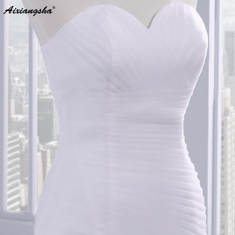 Hot sale floor length pleat cheap wedding dresses tulle robe de mariage Elegant Mermaid wedding dress 2017 5