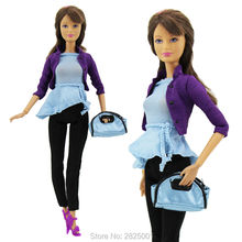 Fashion Office Lady Outfit OL Style Jacket Coat Sleeveless Shirt Pants Handbag Shoes Toy Accessories Clothes For Barbie FR Doll