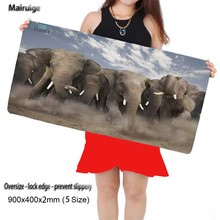 Mairuige Shop Elephants Gaming Animal Mouse Pad with Locking Edge 3mm Thickness Rubber Gamer Mouse Mat Perfect for You(China)