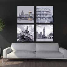 BANMU 4 Piece No Frame Famous Buildings  Roman Colosseum Big Ben Eiffel Tower Oil Painting Wall Artworks Painting Canvas Art