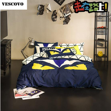 VESCOVO cotton monster machines bedding set queen size fend comforter set fitted sheet set