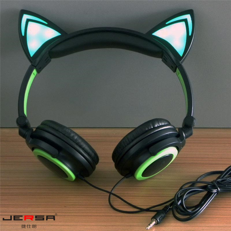 Cartoon Cat ear 3.5mm Music Universal Headset Hifi Headphone for iPhone Cellphone MP3 Cute Earphone LED Cosplay Gift for Holiday<br>