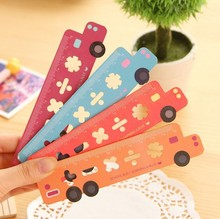 Hot sale sweet design good quality wholesale Bus Hollow Wooden rulers bookmark Kid toy .cute lovey school stationery(China)