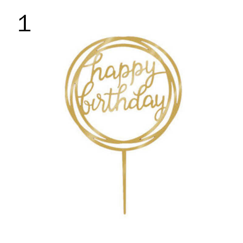 Love Happy Birthday Acrylic Cake Topper Flag Card Home Party Decoration Supplies 66CY