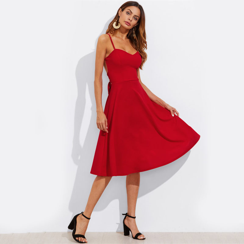 COLROVIE Crisscross Belted Back Cut Out Fitted & Flared Dress Red Spaghetti Strap Sleeveless Sexy A Line Party Dress Green 13