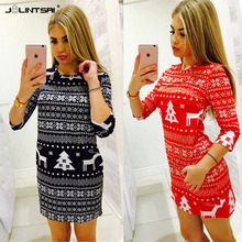 Buy 2017 Autumn Winter Fashion Women Dresses Christmas Dress O-Neck deer Print floral Elegant Casual Red Black Sexy Mini Dress for $5.99 in AliExpress store