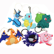 Cartoon Pokemon figures pvc keychains anime Pikachu Bulbasaur Gastly Chansey Squirtle cute pendants Wholesale free shipping(China)