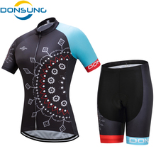 DONSUNG Women Cycling Jersey Set Cycling Clothing Short Sleeve Women MTB Mountain Bicycle Clothes Riding Sportwear Ropa Ciclismo(China)