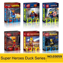 6Pcs/Set Super Heroes Legoinglys Spider/Superman/Iron/Bat/Deadpool Duck Heroes With Motorcycle Gift Brick Figures Building Block(China)