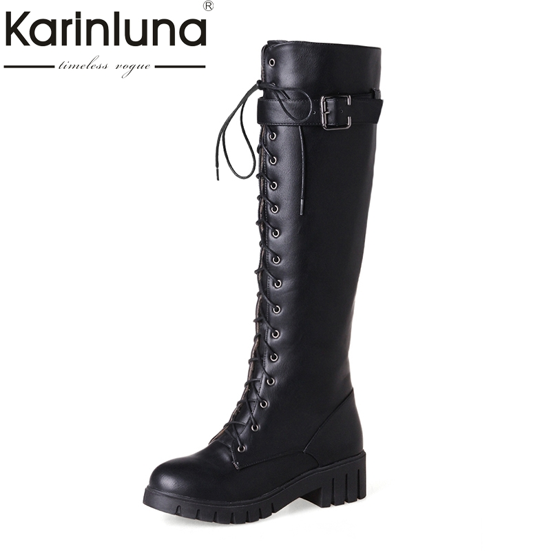 KARINLUNA new arrivals large size 34-43 riding boots women shoes fashion square heels platform winter shoes woman shoes<br>