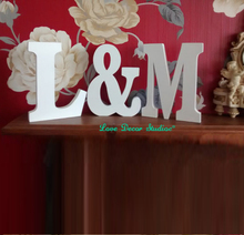 Set of 3 PVC  letters  initials plus ampersand & sign wedding gift romantic custom letters words wedding table engagement gift