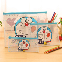 15Pcs/Lot 3 Different Size Transparent PVC File Holder Cute Robot File Bag Storage Box Holder Plastic Cosmetic Bag Student(China)