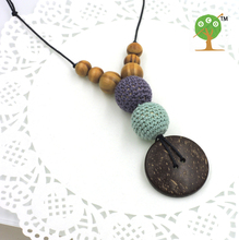 1pc sale Pine wooden beads with crochet beads,coconut button Mint blue and grey color nursing necklace and toy  NW1436