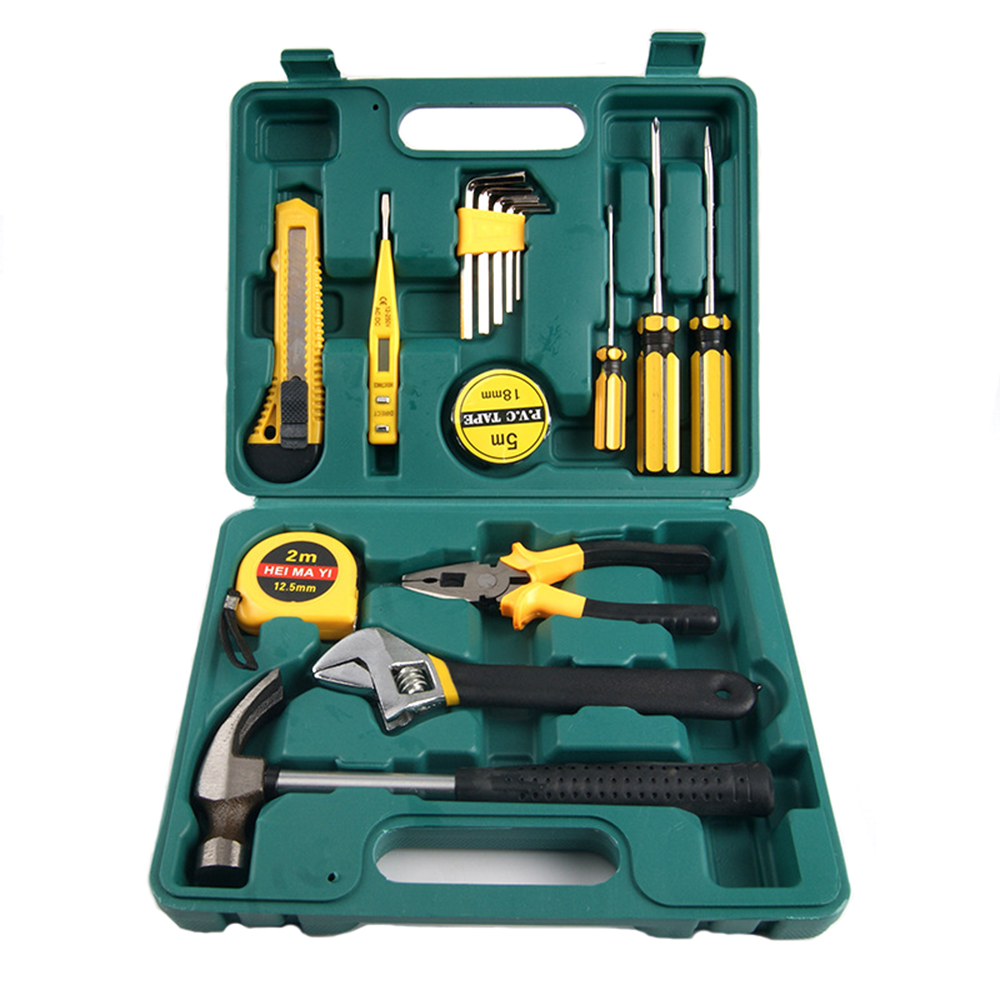 16 PCS Home Accessories Tools Combination Tool Boxes Hammer Pliers Screwdriver Wrenches Knife Hand Work Household Tool Set<br>