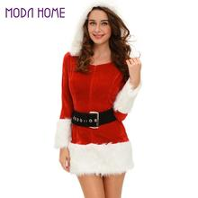2018 Winter Sexy Women 3 PCS Sets Hooded Santa Costume Velvet Fur  Waistbelt+Boot Cover+Dress Christmas Performance Uniform c3c3c48a4d43