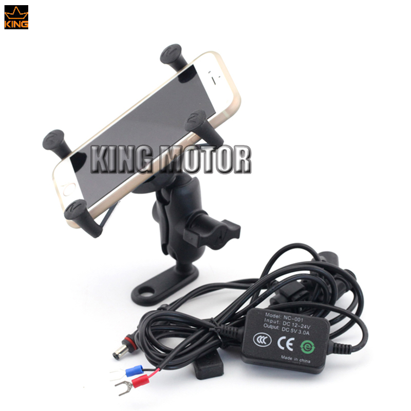 For SUZUKI GSF650 GSF1250 Bandit GSX650F DRZ400 S/SM Motorcycle Navigation Frame Mobile Phone Mount Bracket with USB charger<br>