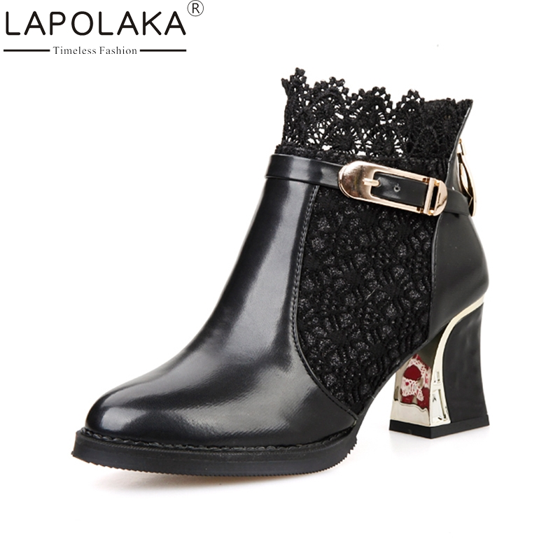 LAPOLAKA 2018 New Fashion Large Size 34-48 Zip Up Round Toe Woman Boots Woman Red Black High Heels Party Ankle Boots<br>