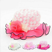 Summer Baby Girls Sun Hats Cute Silk Mesh Caps Fashion Floral Hat Infant Clothing Accessories