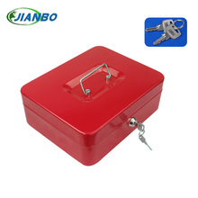 Home Organizador Mini Portable Steel Petty Lock Cash Safe Box For School Office Market With 2 Keys Lockable Coin Security Box(China)