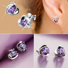 Love Heart Purple Rhinestone Silver Plated Ear Studs Womens Earrings  6Y9B