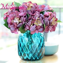 10 pcs/lot Artificial Hydrangea Silk Peony Flowers Luxury Rose Bouquet Plants Arrangment Flower For Wedding Home Decoration(China)
