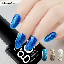 Verntion 8ML 20 Colors Blue Place Bling Colorful Gel Polish Long Lasting Manicure Gel Diamond Glitter Nail Varnish Need Led Lamp