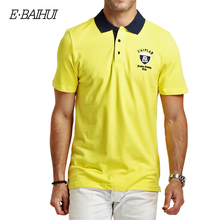 E-BAIHUI brand Summer style Men's Regular Slim Lapel  Embroidered Polo Shirts cotton men casual tops tees  man poloshirts  P009