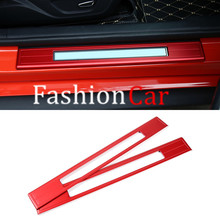 Red & Blue & Silver Outer Door Sill Scuff Plate Threshold Plate For Ford mustang 2015 2016 2017