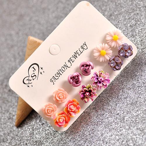 Hot new fashion women jewelry, girls birthday party flower shaped stud earrings, beautiful powder, purple yellow green Earrings 30